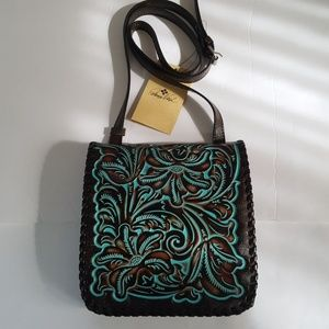 Patricia Nash Leather Tooled Turquoise Crossbody